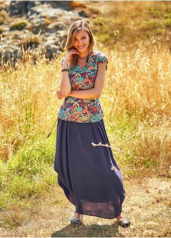 Drapped Wooden Beaded Belt Purple Gypsy Long Skirt