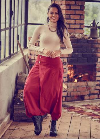 Elastic Waist Wrap Front Casual Red Harem Pants