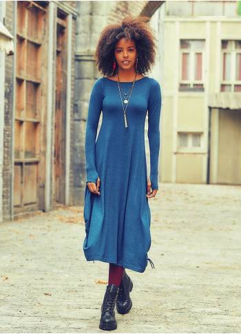 Boat Neckline Side String Detail Long Sleeve Wholesale Maxi Dress