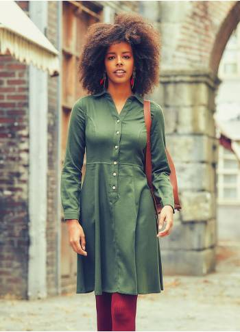 Shirt Collar Knee Lenght Long Sleeve Cotton Fit And Flare Dress
