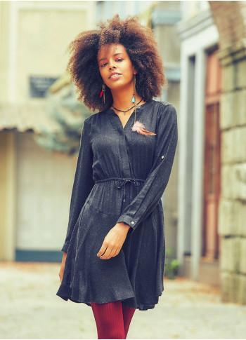 Adjustable Sleeve Detailed V Neckline Short Winter Dress