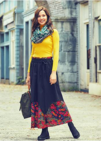 Wooden Bead Detail Double-Layered Elastic Waist Cotton Maxi Skirt