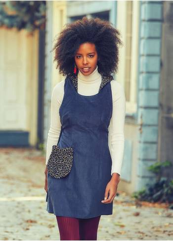 Hooded Adjustable Waist Pocket Indigo Velvet Dress