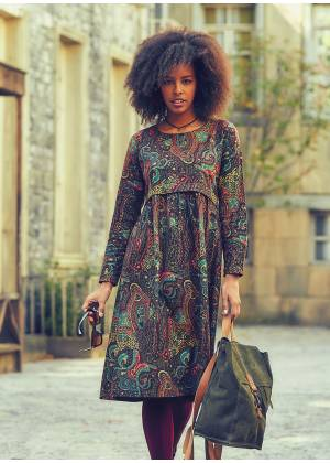 Paisley Pattern Long Sleeve Ruffle Detailed Wholesale Midi Dress