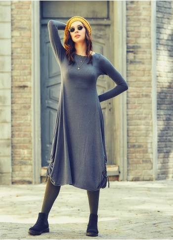 Side Strings Thumb Hole Detail Long Sleeve Wholesale Maxi Dress