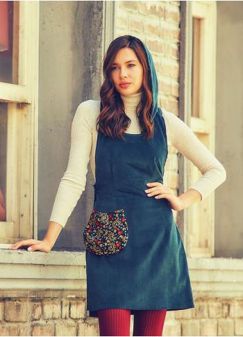 Hooded Adjustable Waist Pocket Petrol Velvet Dress