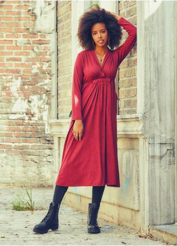 Front Yoke Tie Waist Long Sleeve Claret Red Dress