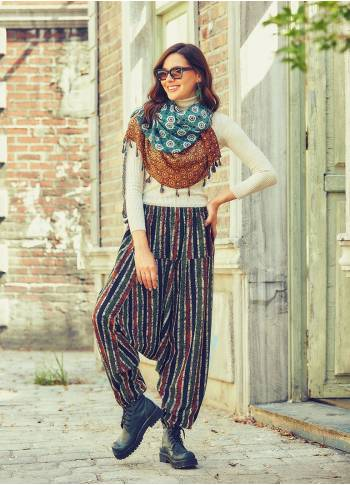 Easy Pull-On Elastic Waist Green Striped Winter Harem Pants