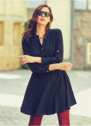 Adjustable Sleeve Button Detailed V Neckline Flared Short Dress