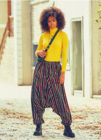 Elastic Waist and Hem Maroon Striped Harem Pants