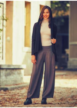 Medium Rise Drape Detailed Elastic Waist Wide Leg Boho Pants