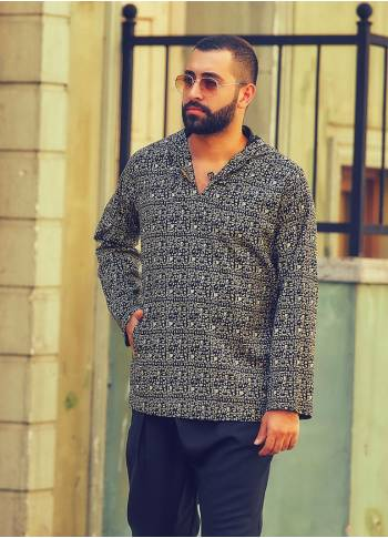 Wooden Button Detailed Ethnic Print Men's Wholesale Hoodie Shirt