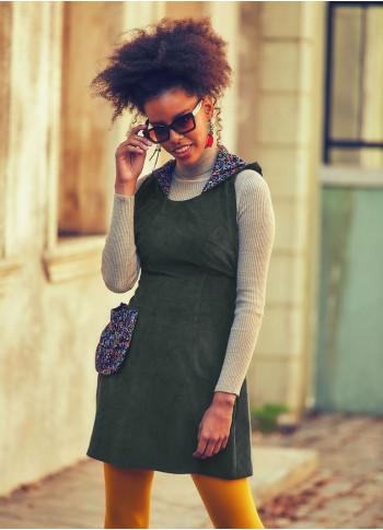 Hooded Adjustable Waist Pocket Khaki Velvet Dress