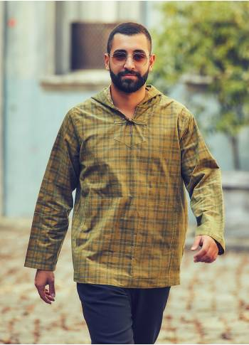 Wooden Buttoned Men's Wholesale Hoodie Green Shirt