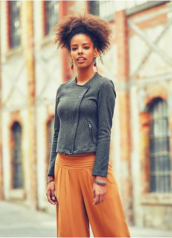 Zipper Closure Pockets O-Neck Slim Cut Wholesale Short Jacket