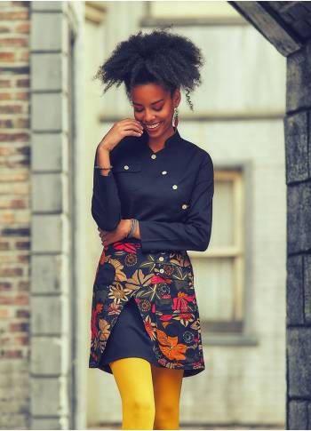 Double Layered Pocket Detailed Black Floral Wholesale Mini Skirt