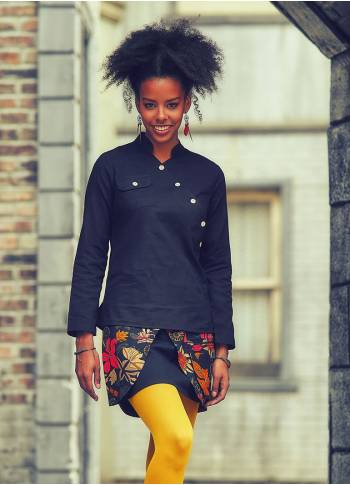 Mandarin Collar Buttoned Long Sleeve Black Top