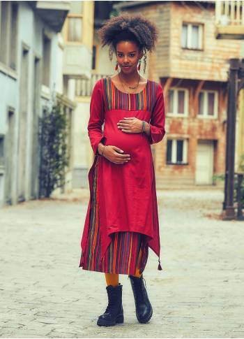 Tassel Hem Double Layer Red Stripe Maternity Dress