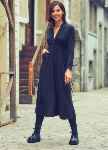 Front Yoke V Neckline Tie Waist Long Sleeve Winter Dress