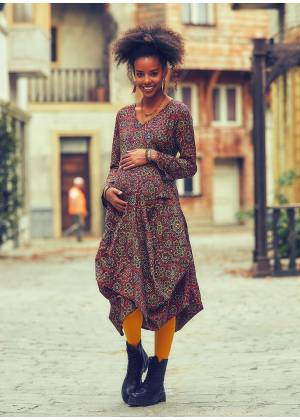 Retro Print V Neckline Long Sleeve Boho Style Maternity Dress