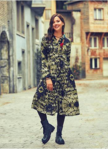 Batik Printing Long Sleeve Mandarin Collar Tunic Dress