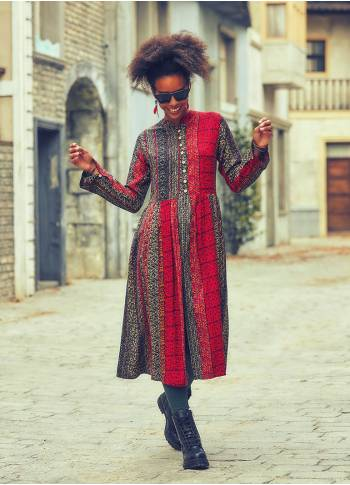 Ethnic Patch Print Mandarin Collar Long Sleeve Tunic Dress