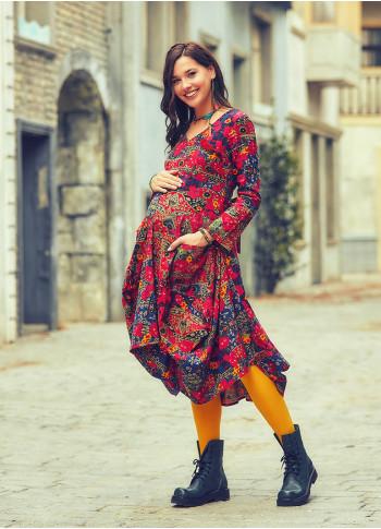 Asymmetrical Hem Long Sleeve Tie Waist Floral Maternity Dress