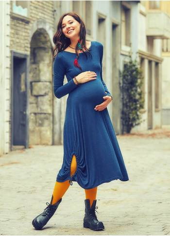Boat Neckline Side Strings Thumb Hole Long Sleeve Maternity Dress