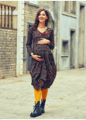 V Neck Tie Waist Boho Style Long Sleeve Cotton Maternity Dress