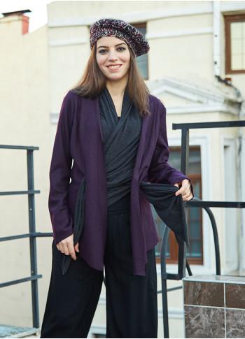 Double Layered Boho Style Wholesale Purple Felt Jacket