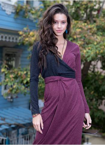 Double Breasted V Neckline Wholesale Color Block Long Dress