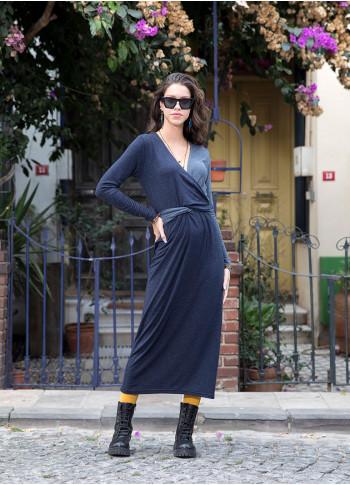 V Neckline Adjustable Tie Waist Wholesale Color Block Long Dress
