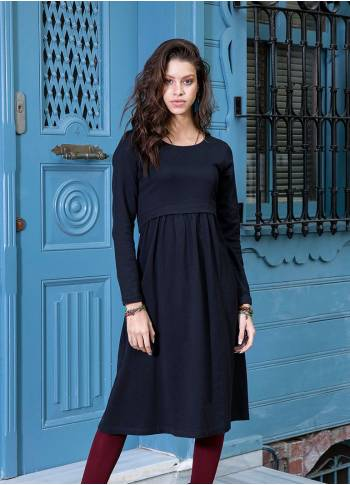 Long Sleeve Boat Neckline Mid Lenght Wholesale Black Dress