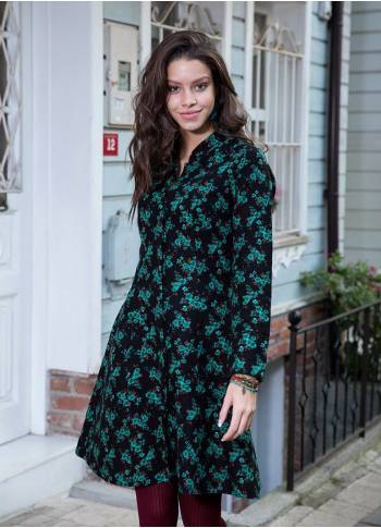 Mandarin Collar Long Sleeve Floral Wholesale Black Dress