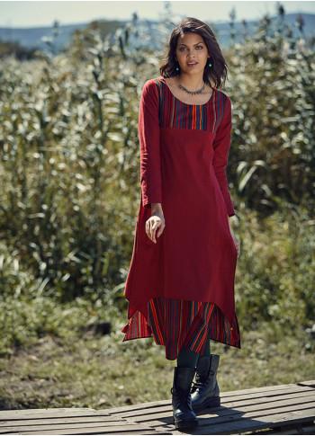Tassel Hem Side Slits Gypsy Long Sleeve Red Dress