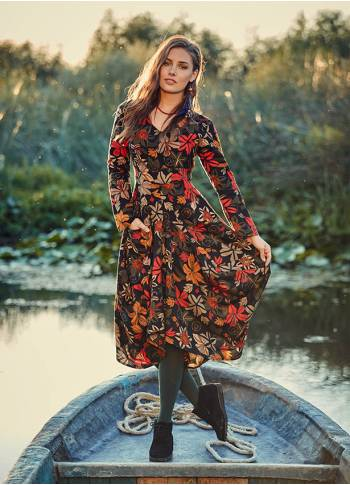 Floral Pattern Asymmetrical Hem Long Sleeve Dress