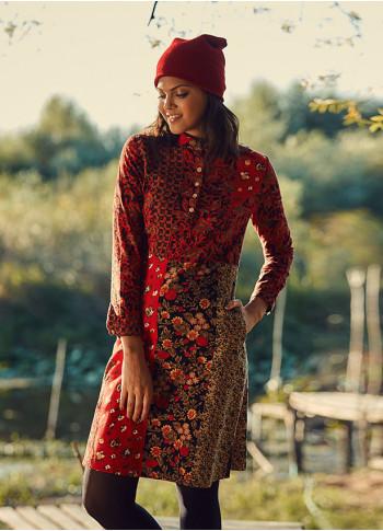 Ethnic Patch Mandarin Collar Tie Back Red Dress