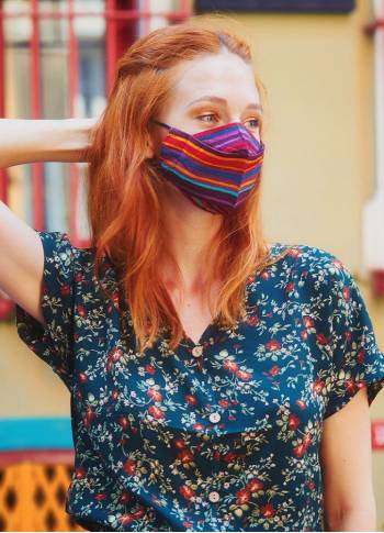 Double Layer Red Striped Viscose Mask (3 Pieces )