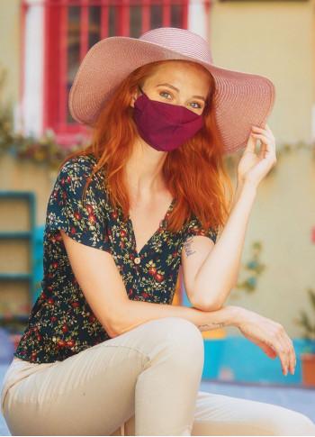 Double Layer Burgundy Cotton Mask (3 Pieces )