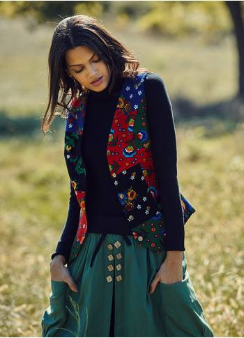 Floral Printed Buttoned Gypsy Style Patchwork Vest