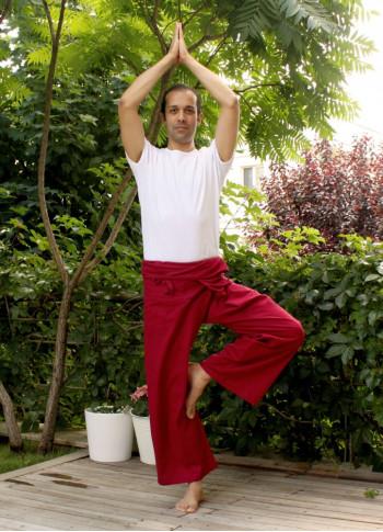 Tie Waist Wide Leg Men's Red Fisherman Yoga Pants