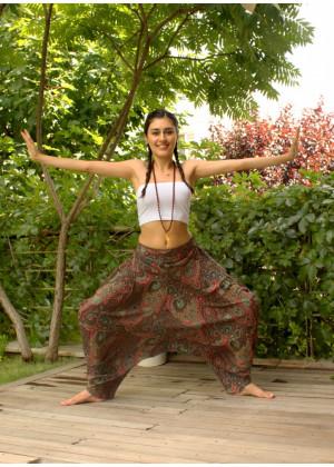 Draped Waist Medium Rise Ankle Lenght Baggy Harem Yoga Pants