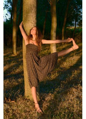 Ethnic Print Shirred Elastic Waistband Harem Yoga Pants