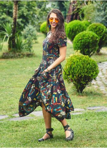 Amazon Print Big Pockets Half Sleeve Black Dress
