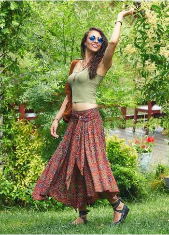 Retro Print Asymmetrical Hem Bohemian Wholesale Flowy Midi Skirt