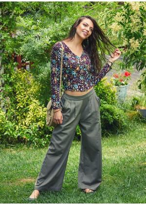 Frilled Side Pockets Elastic Waist Wholesale Boho Wide Leg Pants