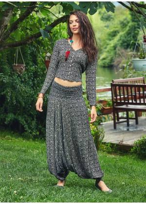 Ethnic Print Wide Shirred Waistband Wholesale Gypsy Harem Pants