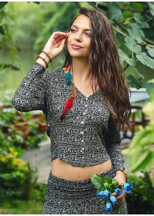 Bohemian Ethnic Print Long Sleeve Button Down Wholesale Crop Top