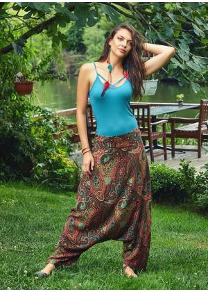 Ethnic Patterned Banded Waist Low Rise Harem Pants