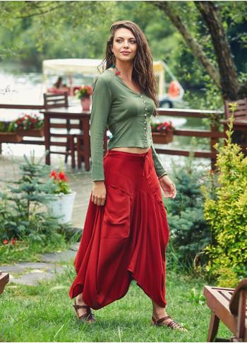 Asymmetrical Hem Tie Waist Loose Fit Wholesale Boho Long Skirt